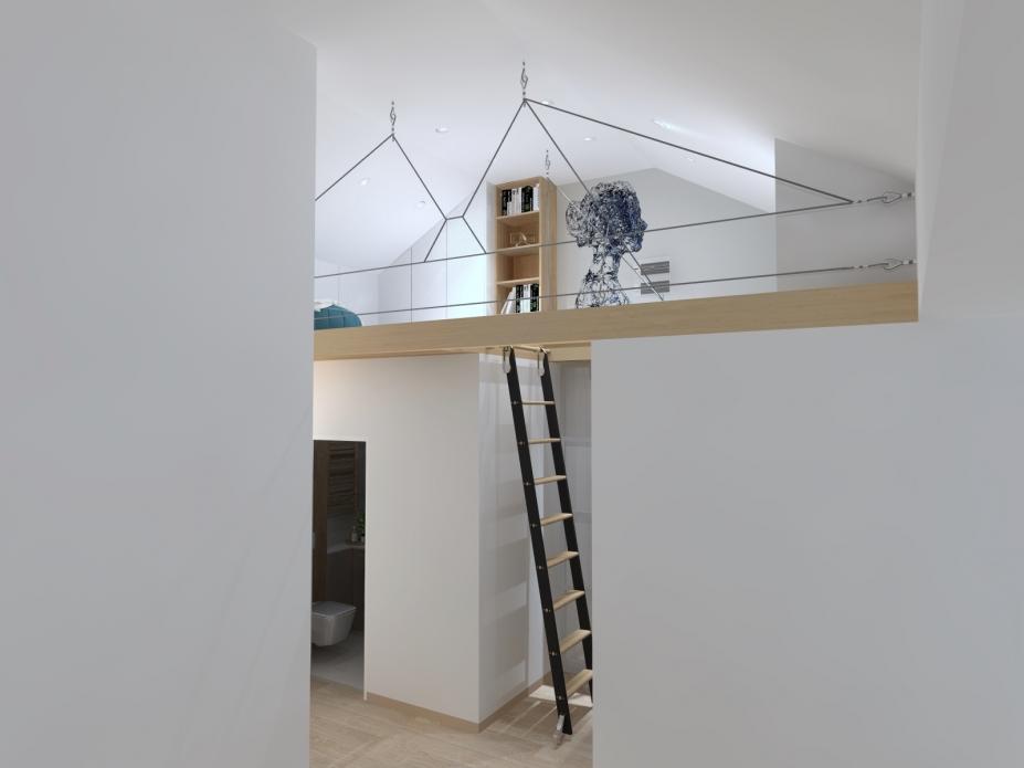 projekt mieszkania z antresolą