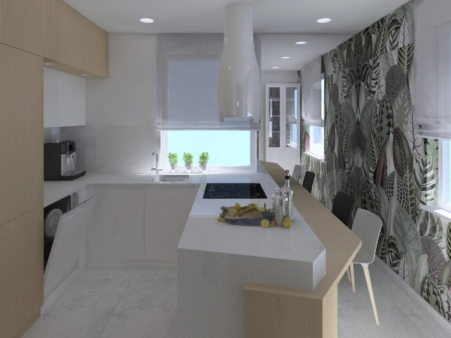 projekt kuchni z półwyspem