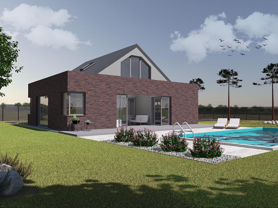 projekt elewacji domu jednorodzinnego tynk+cegła