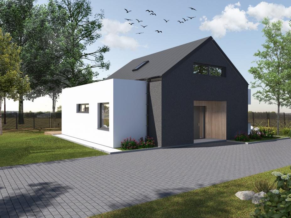 projekt elewacji domu jednorodzinnego tynk