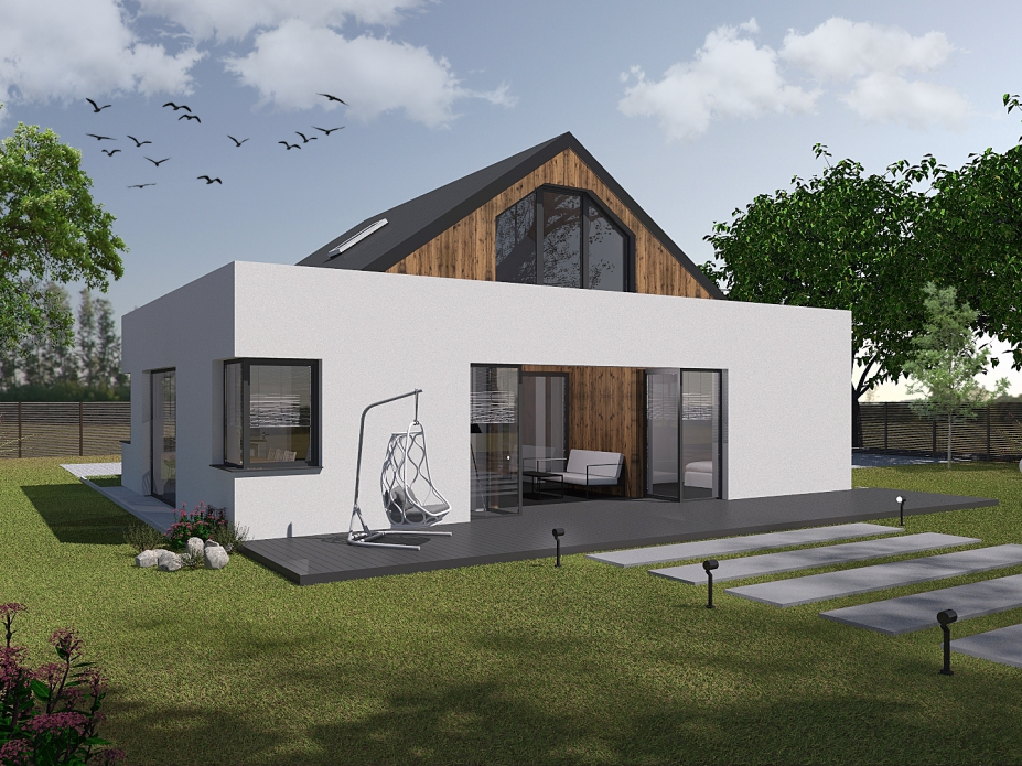 projekt elewacji domu jednorodzinnego tynk+deska