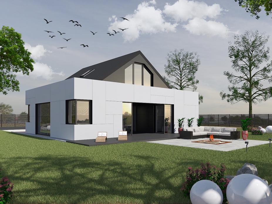 projekt elewacji domu jednorodzinnego tynk+płyty wartswowe