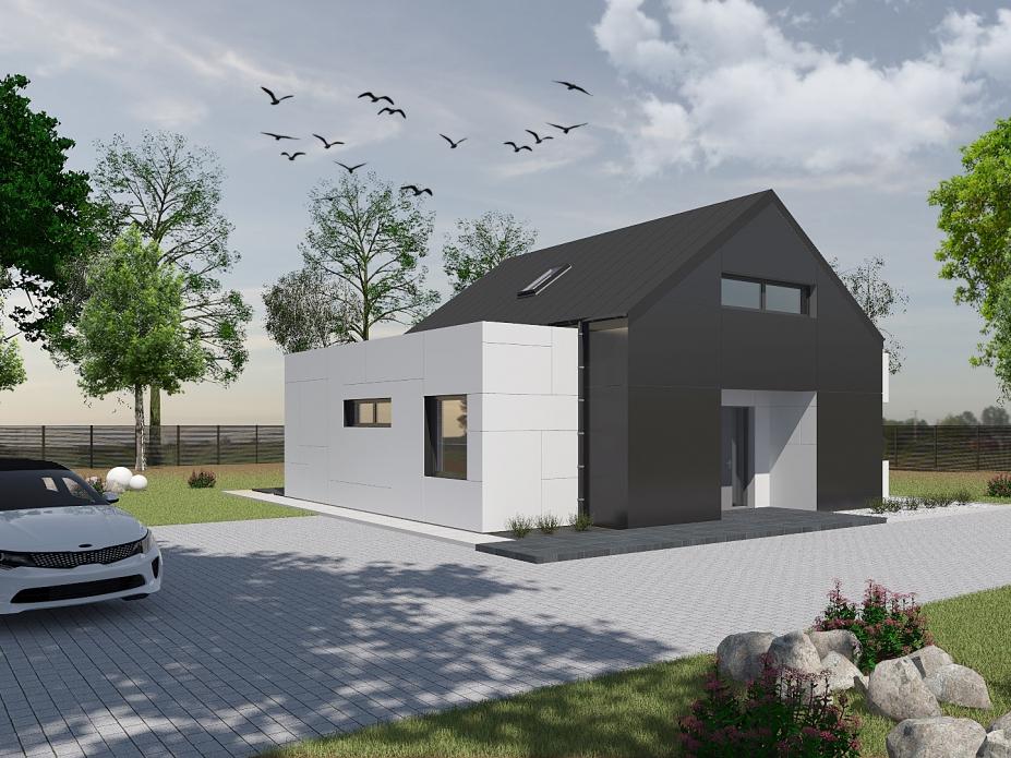 projekt elewacji domu jednorodzinnego tynk+płyty warstwowe