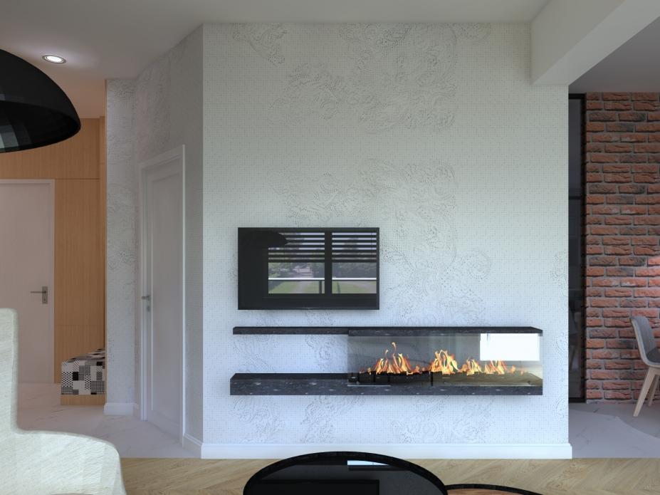 Ściana tv z biokominkiem