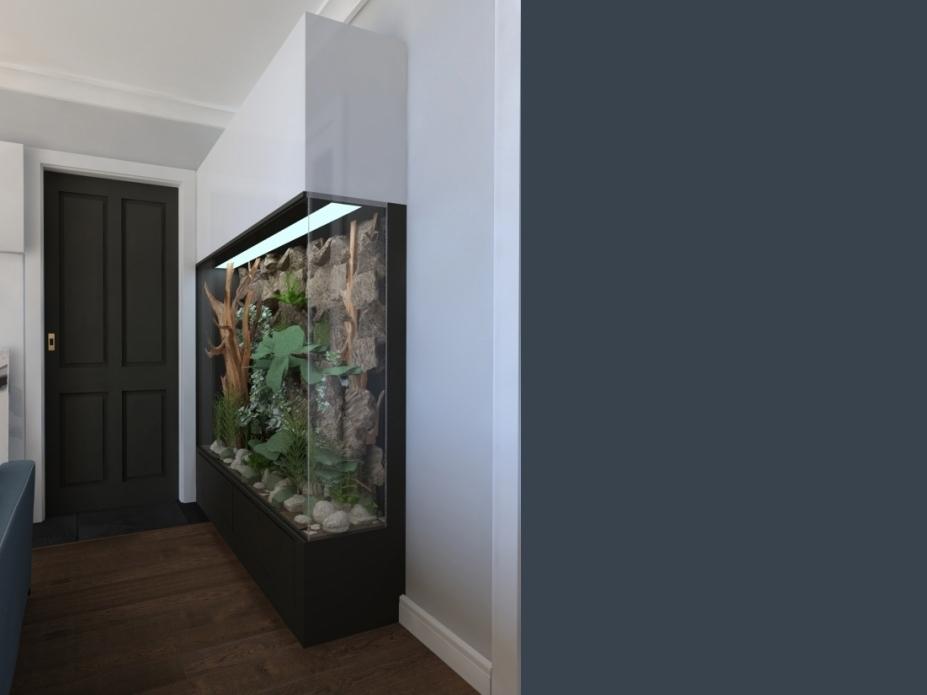 projekt salonu z terrarium