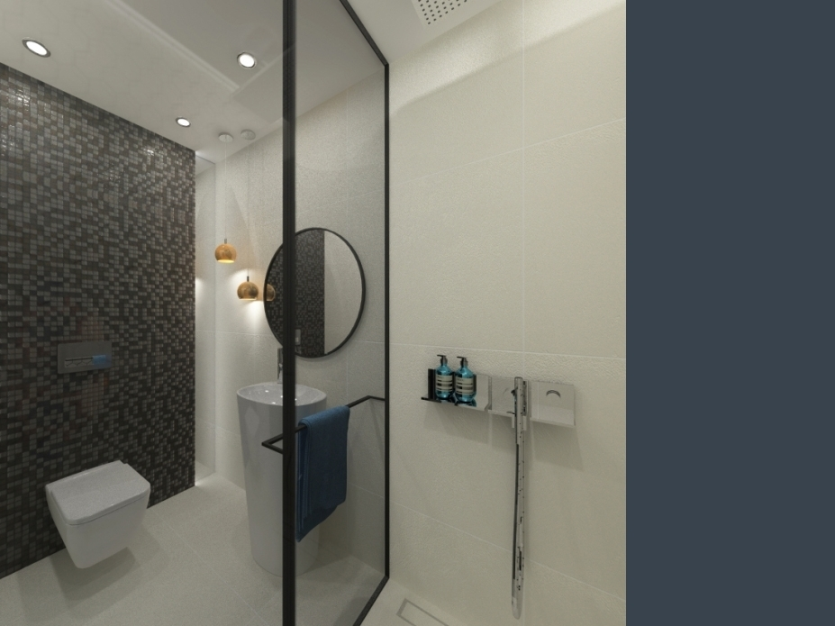 projekt łazienki przy saunie