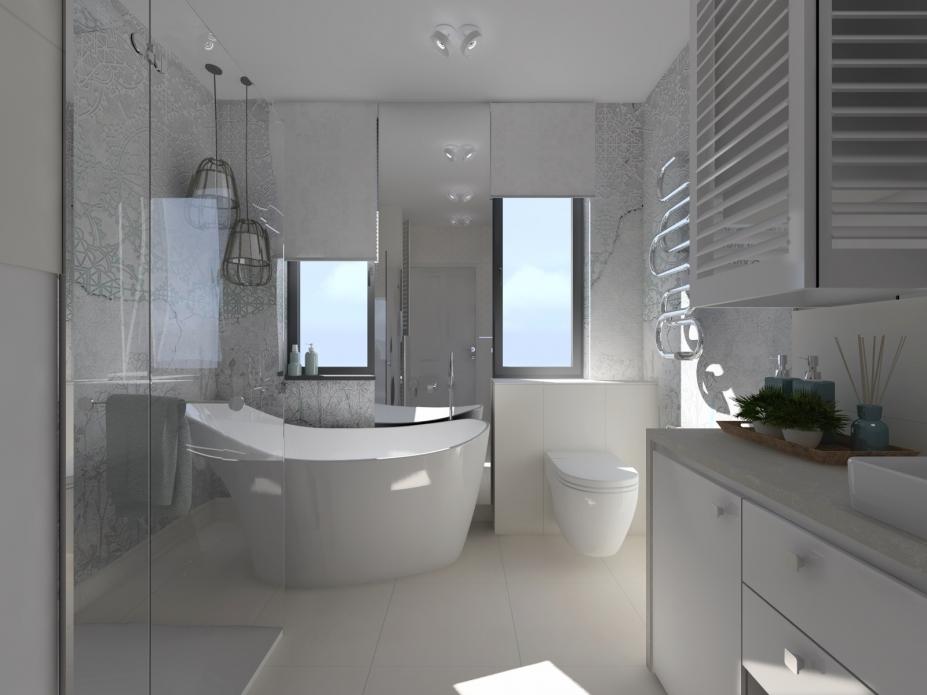 projekt łazienki z tapetą