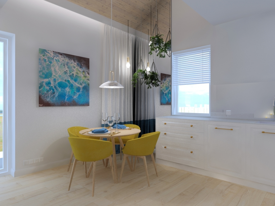 Projekt wnętrz apartamentu - jadalnia