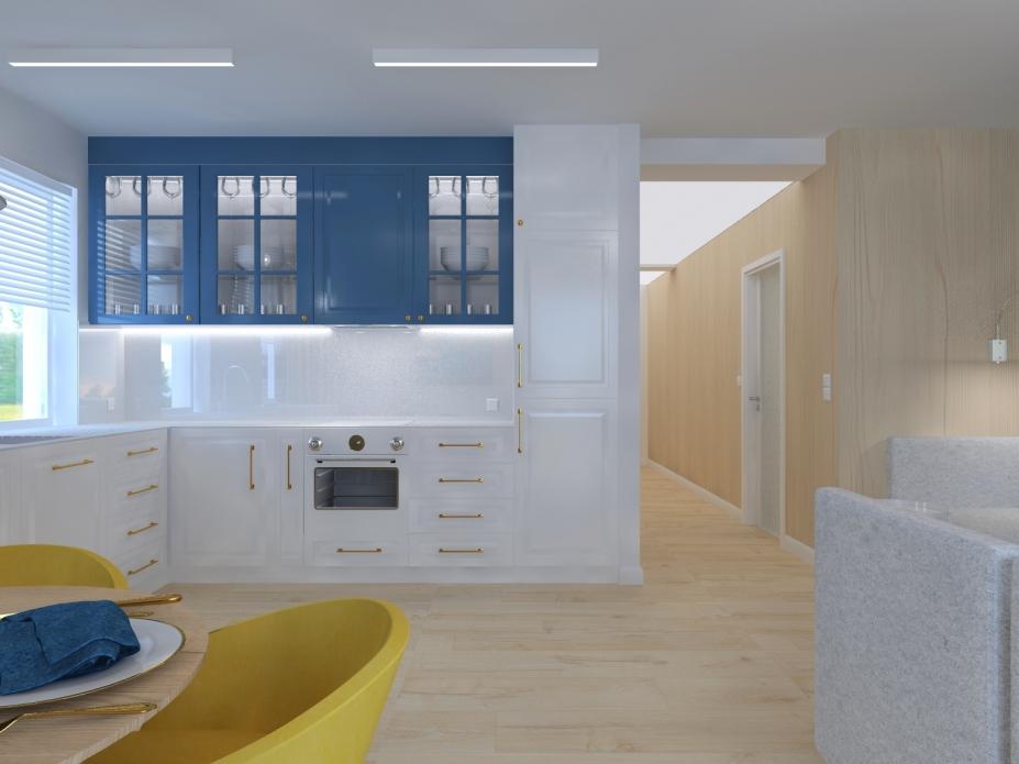 Projekt wnętrz apartamentu - kuchnia