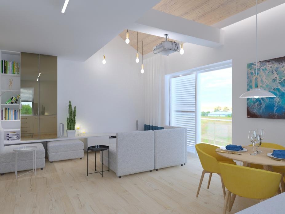 Projekt wnętrz apartamentu - salon