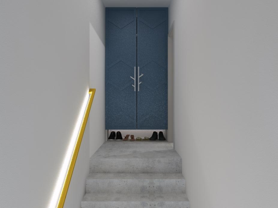 Projekt wnętrz apartamentu - klatka schodowa
